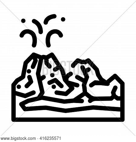 Valley Of Volcanoes Line Icon Vector. Valley Of Volcanoes Sign. Isolated Contour Symbol Black Illust