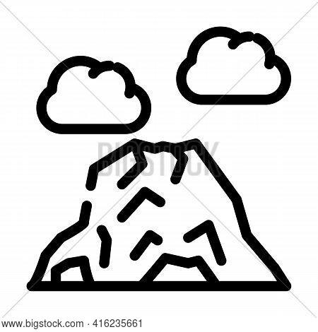 Volcano Mountain Line Icon Vector. Volcano Mountain Sign. Isolated Contour Symbol Black Illustration