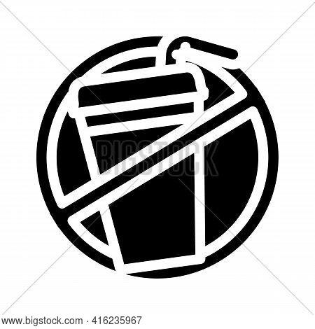 Refusal From Soda Glyph Icon Vector. Refusal From Soda Sign. Isolated Contour Symbol Black Illustrat