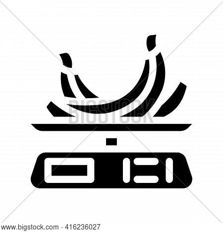 Weighing Food Glyph Icon Vector. Weighing Food Sign. Isolated Contour Symbol Black Illustration