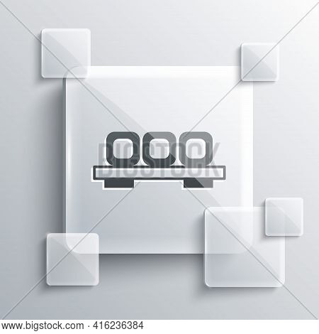 Grey Sushi On Cutting Board Icon Isolated On Grey Background. Asian Food Sushi On Wooden Board. Squa
