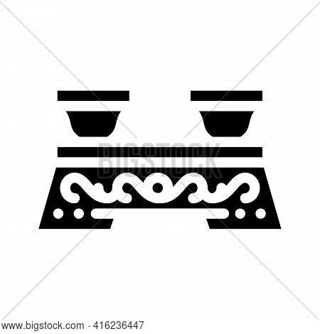 Ceremony Tea Drink Table Glyph Icon Vector. Ceremony Tea Drink Table Sign. Isolated Contour Symbol B