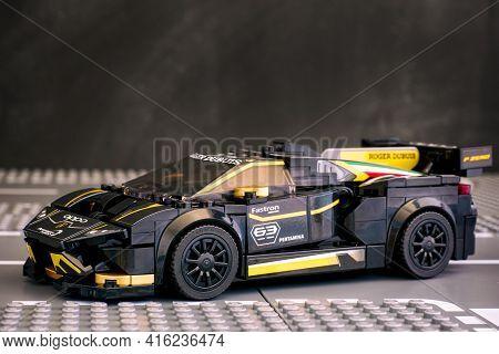 Tambov, Russian Federation - June 25, 2020 Lego Lamborghini Huracan Super Trofeo Evo Car By Lego Spe