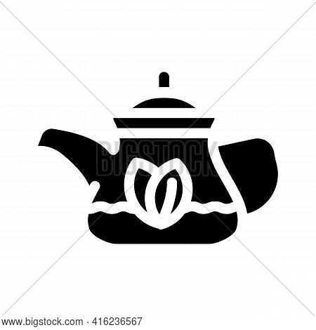 Green Tea In Teapot Glyph Icon Vector. Green Tea In Teapot Sign. Isolated Contour Symbol Black Illus