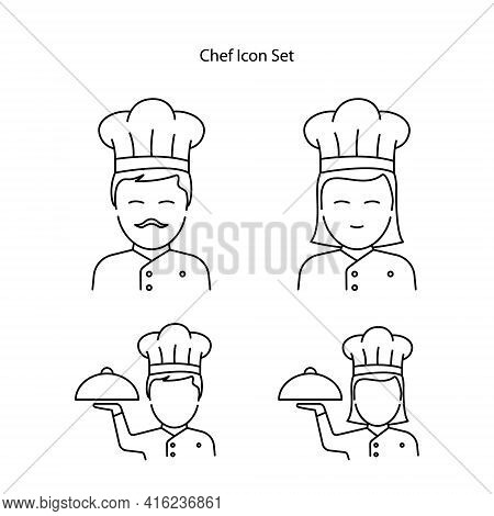Chef Icon Set Isolated On White Background. Chef Icon Thin Line Outline Linear Chef Symbol For Logo,