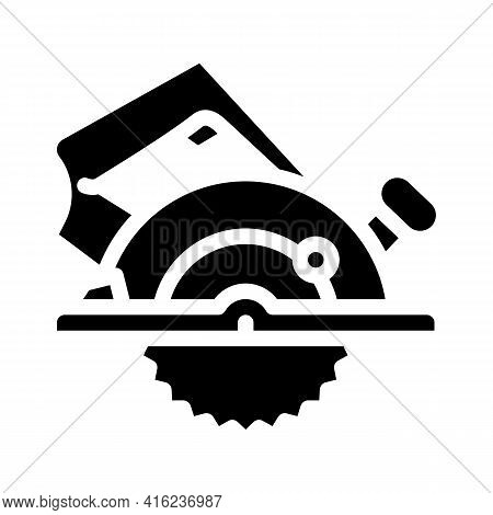 Circular Saw Glyph Icon Vector. Circular Saw Sign. Isolated Contour Symbol Black Illustration
