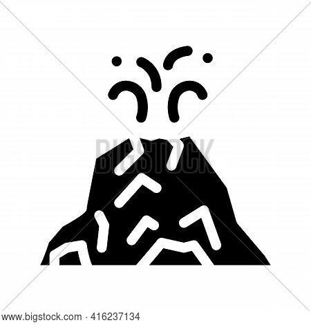 Eruption Volcano Glyph Icon Vector. Eruption Volcano Sign. Isolated Contour Symbol Black Illustratio