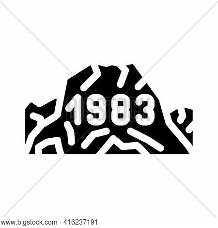 Date Of Last Eruption Glyph Icon Vector. Date Of Last Eruption Sign. Isolated Contour Symbol Black I
