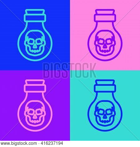 Pop Art Line Poison In Bottle Icon Isolated On Color Background. Bottle Of Poison Or Poisonous Chemi
