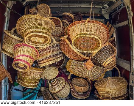 Wicker basket in the van of an artisan going to sell them on a craft market