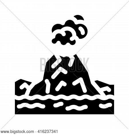 Island With Volcano Glyph Icon Vector. Island With Volcano Sign. Isolated Contour Symbol Black Illus