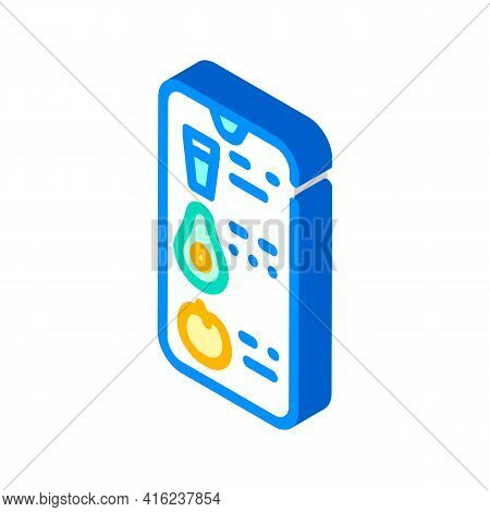 Counting Eaten App Isometric Icon Vector. Counting Eaten App Sign. Isolated Symbol Illustration