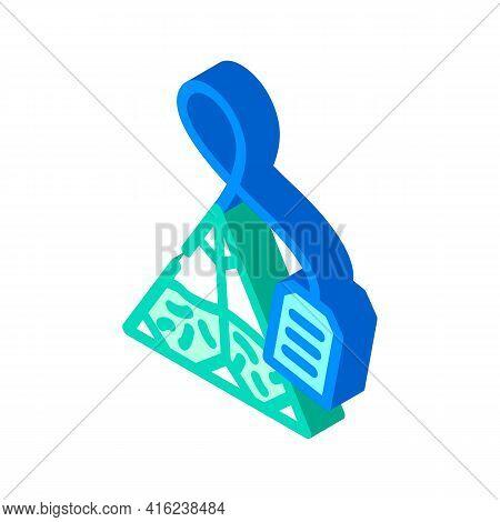 Triangular Bag Tea Isometric Icon Vector. Triangular Bag Tea Sign. Isolated Symbol Illustration