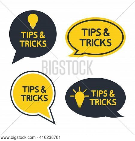Tips And Tricks, Helpful Tips, Tooltip, Hint For Website. Set Of Tricks Solution, Helpful Advice Tex