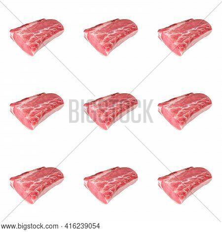 Pieces Of Pork Loin Or Pork Chop Food Seamless Pattern.
