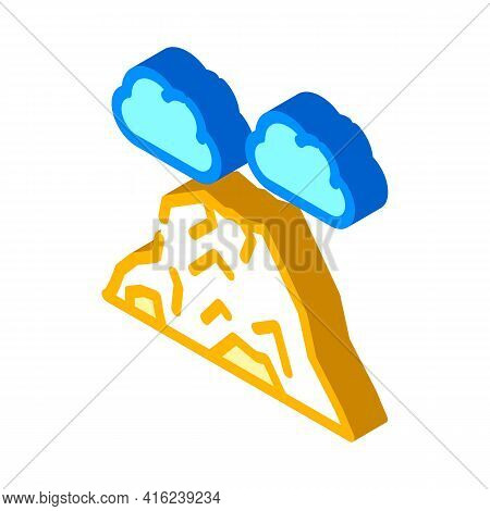 Volcano Mountain Isometric Icon Vector. Volcano Mountain Sign. Isolated Symbol Illustration