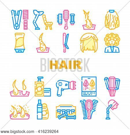 Healthy Hair Treatment Collection Icons Set Vector. Stationery Hairdryer And Dandruff, Shampoo And B