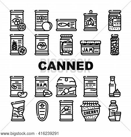 Canned Food Nutrition Collection Icons Set Vector. Canned Peach And Pineapple, Salted Cucumbers And