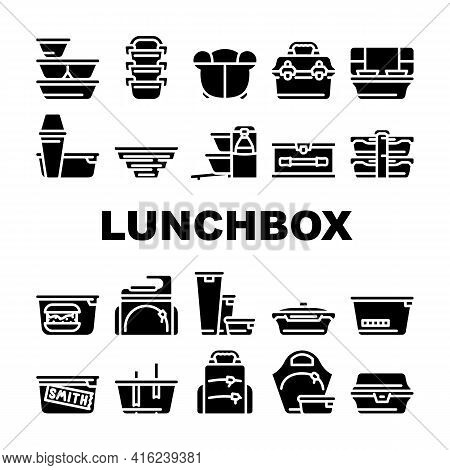 Lunchbox Dishware Collection Icons Set Vector. Backpack And For Women Lunchbox And Thermos, Vacuum A