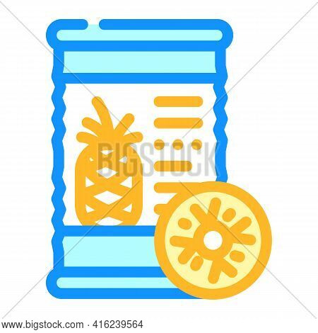 Pineapple Canned Food Color Icon Vector. Pineapple Canned Food Sign. Isolated Symbol Illustration