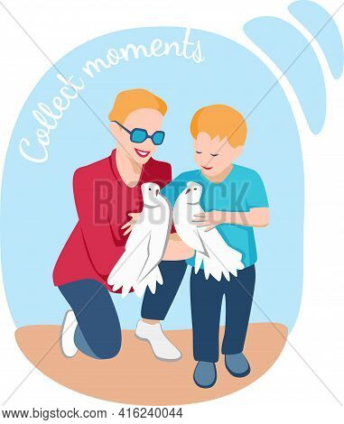 Young Mother Happy Spending Time With Her Child. Script Collect Moments. They Hold The Doves And Smi