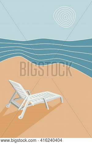 Sun Lounger On The Beach, Abstract Background Seascape, Waves, Sun, Sand, Vacation For Banner, Poste