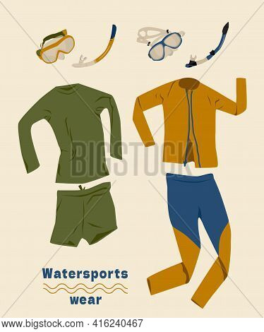 Wetsuit, Mask And Snorkel Set. Long Sleeve Wear For Watersports. Swimsuits Shorts And Leggings. Vect