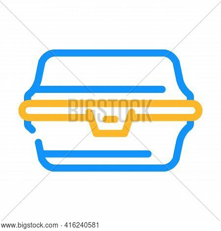 Paper Lunchbox Color Icon Vector. Paper Lunchbox Sign. Isolated Symbol Illustration