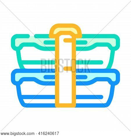 Double Lunchbox Color Icon Vector. Double Lunchbox Sign. Isolated Symbol Illustration