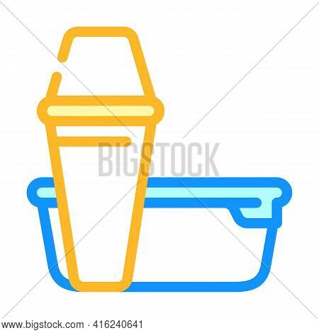 Thermos And Lunchbox Color Icon Vector. Thermos And Lunchbox Sign. Isolated Symbol Illustration