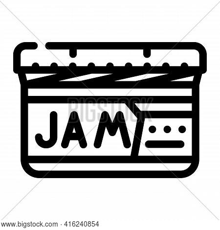 Jam Canned Food Line Icon Vector. Jam Canned Food Sign. Isolated Contour Symbol Black Illustration