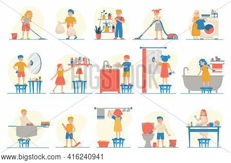 Collection Of The Children Doing Different Housework