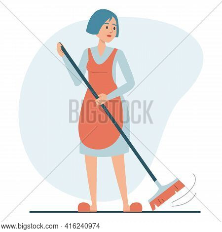Woman Sweeping The Floor Using Broom Isolated