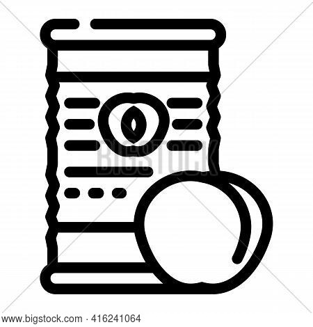 Peaches Canned Food Line Icon Vector. Peaches Canned Food Sign. Isolated Contour Symbol Black Illust