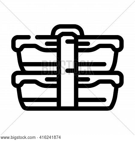 Double Lunchbox Line Icon Vector. Double Lunchbox Sign. Isolated Contour Symbol Black Illustration