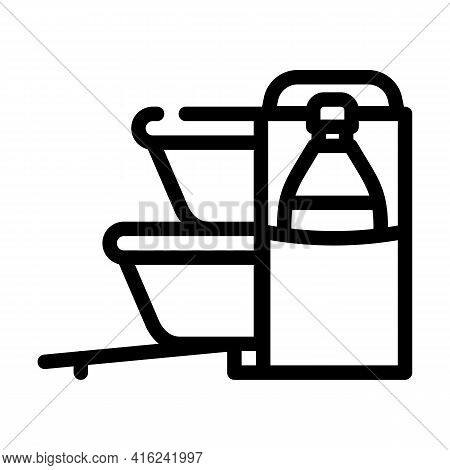 Carrying Bag Lunchbox Line Icon Vector. Carrying Bag Lunchbox Sign. Isolated Contour Symbol Black Il