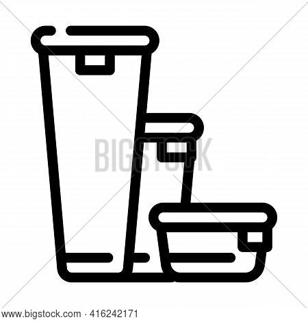 Various Height Of Lunchbox Line Icon Vector. Various Height Of Lunchbox Sign. Isolated Contour Symbo