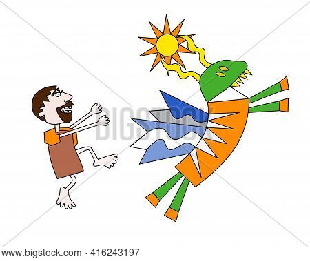 Fourth Labour Of Hercules, Cerynian Hind In Hand Drawn Style Male Catch The Animal Vector Illustrati