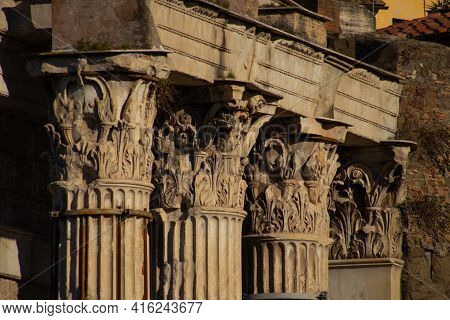 Columns Of The Forum Of Augustus, Rome. Italy