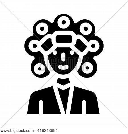 Perm Hair Glyph Icon Vector. Perm Hair Sign. Isolated Contour Symbol Black Illustration