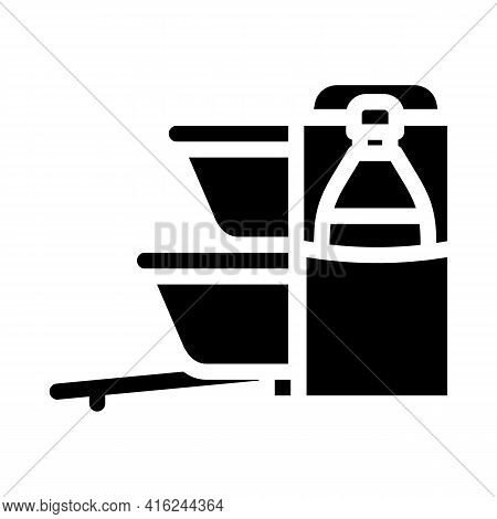 Carrying Bag Lunchbox Glyph Icon Vector. Carrying Bag Lunchbox Sign. Isolated Contour Symbol Black I
