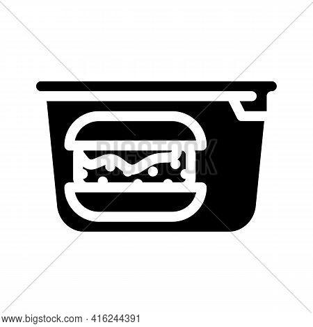 Hamburger Lunchbox Glyph Icon Vector. Hamburger Lunchbox Sign. Isolated Contour Symbol Black Illustr