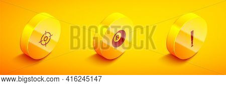 Set Isometric Target Sport, Billiard Pool Snooker Ball And Baseball Bat Icon. Vector