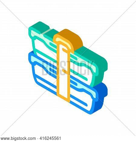 Double Lunchbox Isometric Icon Vector. Double Lunchbox Sign. Isolated Symbol Illustration