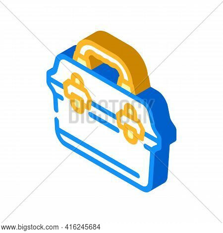 Vintage Lunchbox Isometric Icon Vector. Vintage Lunchbox Sign. Isolated Symbol Illustration