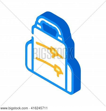 Backpack Lunchbox Isometric Icon Vector. Backpack Lunchbox Sign. Isolated Symbol Illustration