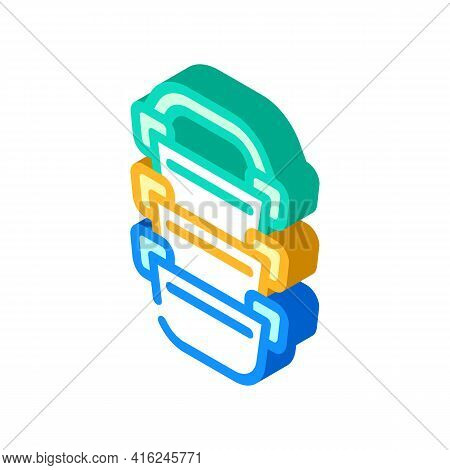 Multi-tiered Lunchbox Isometric Icon Vector. Multi-tiered Lunchbox Sign. Isolated Symbol Illustratio