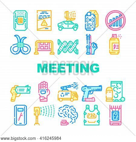 Protests Meeting Event Collection Icons Set Vector. Microwave Gun And Traumatic Gun, Water Jet And B