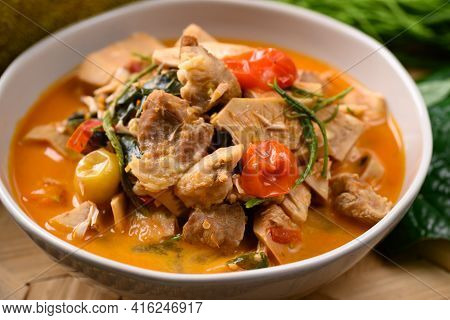 Northern Thai Food (kang Kanoon), Spicy Young Jackfruit Soup With Pork In A Bowl