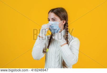 Self Hygiene Concept. Virus Pneumonia. Patient Child Wearing Respirator Mask. Safety Protective Item